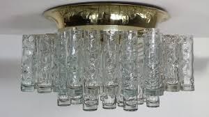 flush mount glass brass chandelier from doria 1960s en vente sur pamono