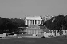 lincoln memorial at night black and white. lincoln memorial with reflecting pool and wwii foreground white at night black w