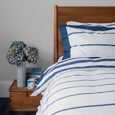 imivimbo navy off white striped bed linen