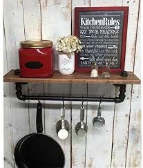 Superior Industrial Kitchen Shelf, Rustic Kitchen Shelves, Black Iron Pipe, Wall  Hanging, Industrial