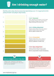 How Much Water Should I Drink Chart Urine Colour Chart Healthdirect