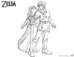 Legend Of Zelda Coloring Pages Link And Princess Free Printable