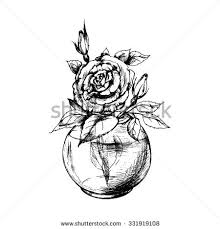 Small Picture Drawn rose glass vase Pencil and in color drawn rose glass vase