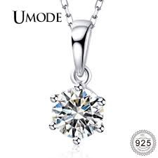 whole umode 925 sterling silver chains necklaces women semiprecious stones cz pendants simple aaa clear zirconia jewelry uln0240 silver pendants silver