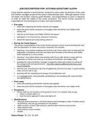 Kitchen Staff Job Description For Resume And Coverletter For