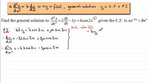 2nd order linear diffeial equations p i trig type examsolutions