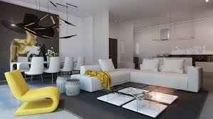 stylish living room furniture. Yellow Accent Living Room Also Modern Decorating Ideas For Apartments Plus Open Dining White Low Seating Sofa Stylish Furniture