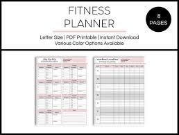 Fitness Planner Progress Chart Fitness Log Nutrition Log Workout Planner Running Log Printable Planner Pdf Instant Download