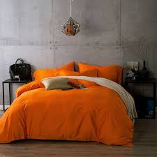 bright orange color bedding duvet cover set