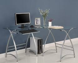 contemporary glass office. Contemporary L Shaped Glass Top Computer Modern Office Desk With Metal Base R