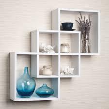 Paint Finish For Living Room Astonishing Three White Finish Wooden Floating Shelf On Cream Wall