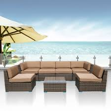 outdoor furniture complete patio cushion wicker rattan garden corner sofa couch set 7pcs set