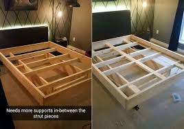 building the bed frame adding support in strut pieces