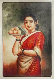 lady with fruit basket raja ravi varma painting curly out of stock lady with fruit basket raja ravi varma painting