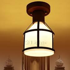 rustic interior lighting. Rustic Semi Flush Ceiling Lights - Wooden Fixture Glass Shade Mount Interior Lighting N