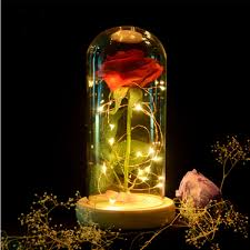 Enchanted Led Rose Light Red Rose Lights Decorations Beauty Enchanted Preserved Red Fresh Rose Glass Cover With Led Light