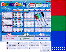 Ryven Kids Reward Chart Set Magnetic Responsibility And Good Behavior Chore Board With 210 Magnetic Stars 4 Dry Erase Markers For Multiple