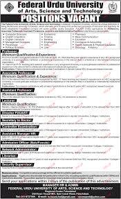 teaching jobs in federal urdu university of arts science and  teaching jobs in federal urdu university of arts science and