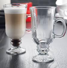 Irish coffee mugs at our cafe for our special irish coffee drink that has ireland. Amazon Com Stylish Glass Irish Coffee Mug With Handle Set Of 4 Clear And Irish Coffee Glasses Set Coffee Cups Mugs