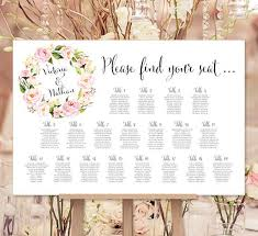 Seating Chart Wedding Wedding Seating Chart Poster Floral Wreath 1 Print Ready Digital File