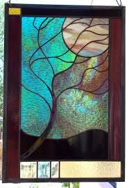 large flowing tree in moonlight stained glass window panel 43 regarding panels design 18