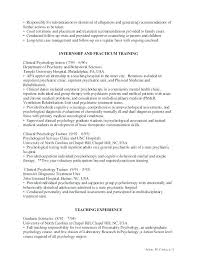 Psychology Resume Sample Resume Template Internship Lovely Resume