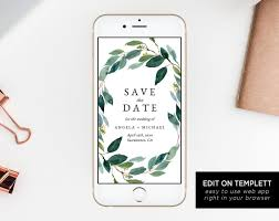 Greenery Electronic Save The Date Template Mobile Save The