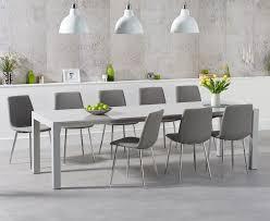 joseph extending light grey high gloss dining table with helsinki fabric chrome chairs
