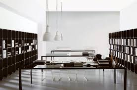 modern interior office. Superb Long Home Office Tables Arrangement Between Two Modern Interior E