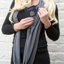 Women Warm Soft Zipper Pocket All Match Scarf With Pocket Shopee