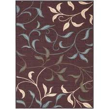 ottohome collection contemporary leaves design chocolate 5 ft x 7 ft area rug