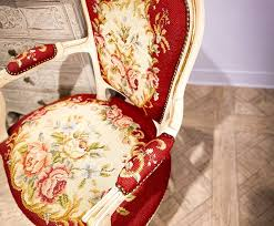 french louis xv red salon chair