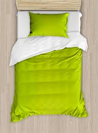 lime green duvet cover set empty backdrop blurry off focus pastel toned shade color spring theme abstract decorative bedding set with pillow shams