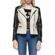 faux leather colorblock biker jacket beige 2xl