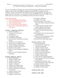 Name _ Nine Weeks Ap World History Notebook Table Of Contents