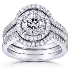 Cut Halo Diamond 3 Piece Bridal Ring Set 1 5 8 Carat Ctw In 14k