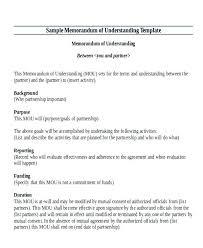 Business Memorandum Examples Document Of Understanding Template Memo Of Understanding