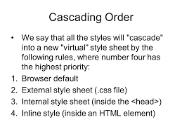 cascade style sheet css cascading style sheets objectives using inline styles working
