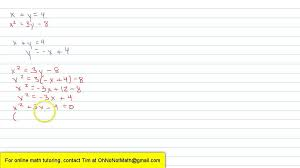 Solving a System of Quadratic Equations by Substitution - YouTube