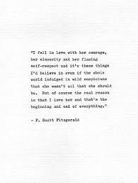 F Scott Fitzgerald Letterpress Quote I Fell In Love Vintage Classy Fitzgerald Quotes