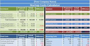 Startup Cost Template Download Startup Costs Calculator Excel Template Exceldatapro