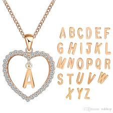whole a to z 26 letter name necklaces pendant for women girl fashion long chain heart necklaces cubic zirconia diy jewelry gift lockets fashion