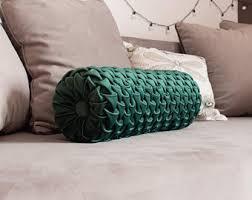 velvet bolster pillow. Fine Pillow Decorative Bolster Pillow  Dark Emerald Green Round Velvet Smocked  Cushion 7u0027x20u0027  Custom Orders Accepted On Velvet Bolster Pillow V