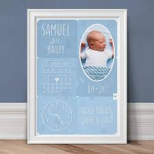 personalised new baby photo print duck egg