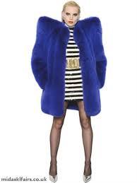 oversized shoulder fox fur coat saint lau blue women