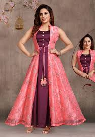 Frock Suit Neck Design Pink Organza Readymade Jacket Style Anarkali Suit 175371