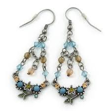 vintage inspired acrylic bead crystal chandelier earrings in pewter tone light