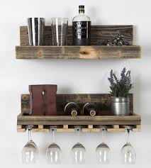 luxury floating shelf wine rack reclaimed wood set key glass holder bottle diy storage