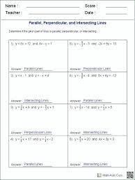 slope intercept form parallel and perpendicular lines worksheet