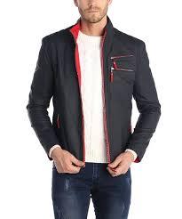 Sir Raymond Tailor Navy Leather Jacket